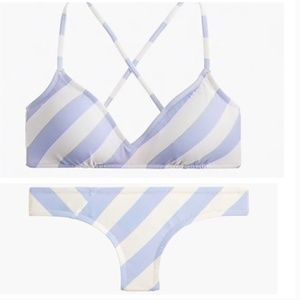 J. Crew French Cross-Back Bikini-asymmetric stripe